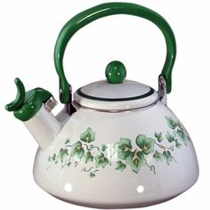 #Corelle Coordinates Callaway 2-1/5-Quart Whistling #Teakettle: An elegant floral design in pale green, accented by a dramatically sculpted rim, gives our Callaway collection a subtle, sophisticated look, perfectly at home with any kitchen decor.
