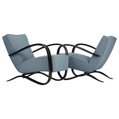 Two Streamline Lounge Chairs by Jindrich Halabala for UP Zavody in the 1930s | From a unique collection of antique and modern lounge chairs at https://www.1stdibs.com/furniture/seating/lounge-chairs/