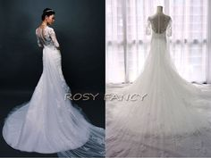 Romantic 1/2 Sleeved Lace Mermaid Wedding dress with detachable cathedral train by RosyFancyWorkshop, $370.00