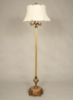Six Way Vintage Floor Lamp With Gold Finish And Marble Base C1940