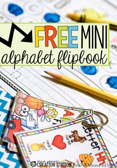 Free Mini Alphabet Flipbook by Elissa of Mrs. Jones' Creation Station at The Measured Mom Preschool Literacy, Preschool Letters, Free Preschool, Early Literacy, Literacy Activities, In Kindergarten, Preschool Ideas, Literacy Bags, Literacy Centres