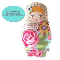 Babushka Doll PDF Sewing Pattern -  with Printable Transfer Doll Faces