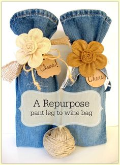 Bag Repurpose ~ pant leg to wine bag Great way to recycle too-small or out-of-style jeans into a fun gift bag for wine.Great way to recycle too-small or out-of-style jeans into a fun gift bag for wine. Fabric Crafts, Sewing Crafts, Sewing Projects, Craft Projects, Upcycling Projects, Cork Crafts, Project Ideas, Wrapping Ideas, Gift Wrapping