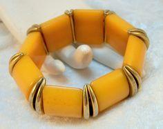 Chunky Butterscotch Bakelite Bracelet  Art Deco /65