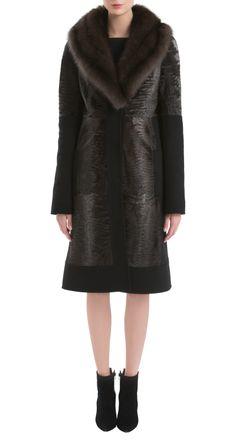 J Mendel 2015 Stardust Dyed Broadtail Lamb Fur & Cashmere Coat with Sable Fur Collar