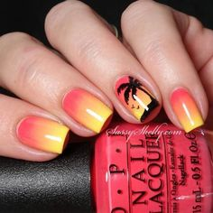 30 Awesome Tropical Nails Designs To Make Your Summer Rock Tropical Nail Designs, Beach Nail Designs, Short Nail Designs, Tropical Nail Art, Wedding Nail Polish, Palm Tree Nails, American Nails, Nagellack Design, Gel Nails At Home
