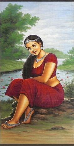 A Beautiful Maiden Sitting Near Pond Full of Lotus - (Wall Hanging) - Contemporary Hand Painted (Painting on Woven Bamboo Strands)