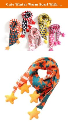 Cute Winter Warm Scarf With Hanging Stars For 1-8 year-old Girls (Orange). Ships from Hongkong. Please carefully select the correct size of products for your kids. For ages: 1-8 years old. Material: Cotton warm and comfortable soft. Length: 140cm. Season: Winter. Worn methods: cross from one side of the hole through the other side of the scarf is easy to use and stylish cute. Fully keep your kids warm. This lovely scarf contains two parts, and each part has different patterns, one is…