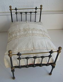 Antique Cast iron doll bed toy miniature furniture (item #1281925)