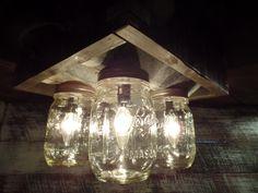 Handmade Mason Jar Barn Box Farmhouse ceiling light Fixture