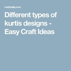 Different types of kurtis designs - Easy Craft Ideas