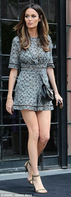 Nicole Trunfio shows off long lean pins in monochrome playsuit #dailymail