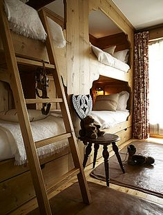 Wall of built-in bunks. Bunk Rooms, Bedrooms, Bunk Beds Built In, Cabins And Cottages, Log Cabins, Ranch Decor, Guest Cabin, Pole Barn Homes, Tiny House Cabin