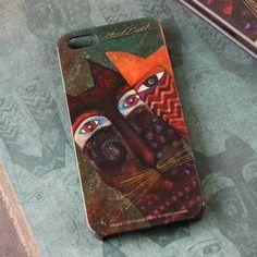 """Carcasa de Laurel Burch """"Gatos Ancestrales"""" Premium Paper (Chile) por iphone 5S"""
