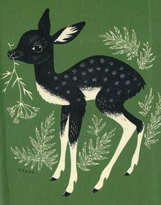 Fawn illustration by Hannah. P.S. Artists, make sure to sign your work with a full name or nickname! This lovely retro-style fawn has been all around the internet with but a lone, unsourceable name credit. Travelin' deer. ;(