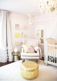 blushing pink baby girl nursery inspiration Photography : Rebecca Dadson Read More on SMP: http://www.stylemepretty.com/living/2016/10/04/designing-a-girly-nursery-this-one-is-a-must-see/
