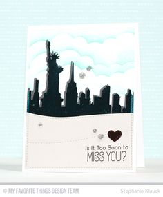 Handmade card from Stephanie Klauck featuring Birdie Brown Adventure is Calling stamp set, New York Skyline, Stitched Cloud Edges, Stitched Snow Drifts, Tag Builder Blueprints 3 and Blueprints 13 Die-namics #mftstamps