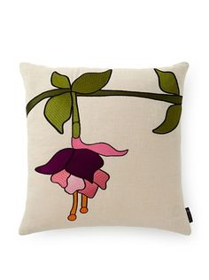 emma at home Embroidered Linen Pillow
