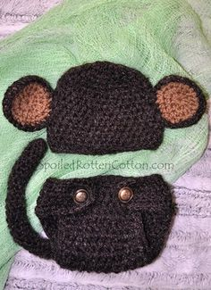 Crochet Fuzzy Monkey Infant Photo Prop 0-3mo | spoiledrottencotton - Crochet on ArtFire