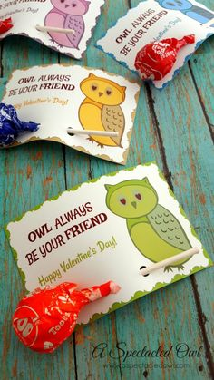 "These ""Owl Always Be Your Friend"" Printable Valentine's Day Card came out so cute & I love that you can add a Tootsie Roll Pop or other sucker right to the card. They're simple to put together and your kids can even help cut out the cards, punch the holes and add the sucker to the card."