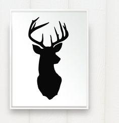 Deer Head Print Silhouette - Color on White Background - Deer Oh Deer - inch Stag Antlers Fine Art via Etsy