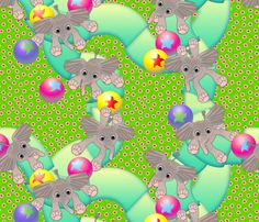 Baby Ellies Having a Ball - Large Scale fabric by glimmericks on Spoonflower - custom fabric