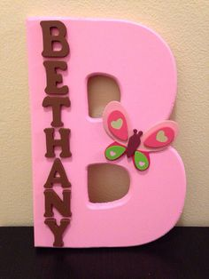 Design not the name. Custom Butterfly Nursery Decor by UniqueDoorDecor on Etsy, $20.00