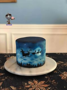Santa's Midnight Sleigh Ride Cake made by Karen Williams from Between the Pages Beautiful Cake Designs, Beautiful Cakes, Mickey Mouse Cake Topper, Airbrush Cake, Gold Luster Dust, Santa Cake, Cross Cakes, Christmas Sweets, Xmas
