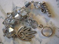 Sterling Silver Hamza Silver Crystal Bracelet by janislogsdongems, $25.00