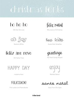 Letras para o Natal. Christmas fonts.