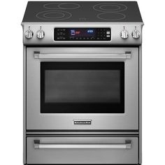 KitchenAid Pro Line Series 4.1 cu. ft. Slide-In Electric Range with Self-Cleaning Convection Oven in Stainless Steel-KESS907XSP at The Home ...
