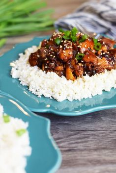 I just finish prepping the rest of my dinner while it's reducing! This Slow Cooker Teriyaki Chicken would be extra awesome served over my Toasted Coconut...