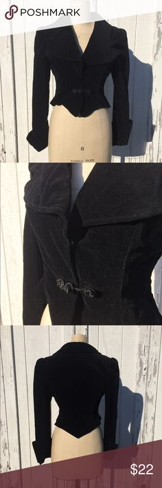"""Vintage Cropped Black Velvet Blazer Sz S Vintage black velvet cropped Blazer - snaps and frog buttons in the front. Jacket is lined. Measurements: Chest: 19"""" across the front, Waist: 15.5"""" across the front, Length: 21.5"""", Arm Length: 26"""". In excellent condition. Vintage Jackets & Coats Blazers"""