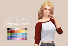 Parenthood Cropped Sweater RecolouredLet me know if there are any problems.  Please read my TOU before downloading! You can find it here  ● Standalone  ● Requires Parenthood  ● Custom Thumbnail  ● 40 Swatches  Download: Simfileshare