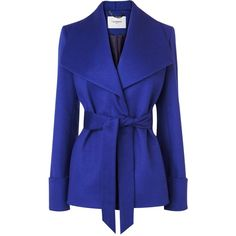 L.K. Bennett Danoe Wool and Cashmere Belted Coat (555 CAD) ❤ liked on Polyvore featuring outerwear, coats, jackets, tops, purple, purple coat, blue coat, belted wrap coat, wool and cashmere coat and wrap coat with belt