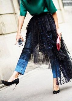 This emerald green is a great color for Fall. Love how it is paired with the tulle and denim.