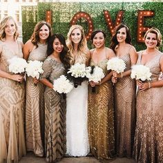 Beaded V Neck Gown Bridesmaid Dressesgold