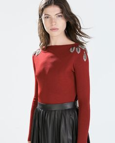 SWEATER WITH JEWELLED LEAVES ON SHOULDER from Zara