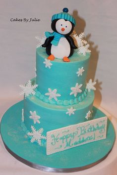 Penguin Birthday Cake Cake by Cakes By Julie Christmas Birthday Cake, Penguin Birthday, Themed Birthday Cakes, Themed Cakes, Winter Birthday, Christmas Cakes, Pretty Cakes, Cute Cakes, Winter Wonderland Cake