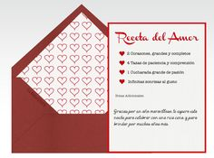 Tarjetas de amor, tarjetas de San Valentín, tarjeta de enamorados, Día de San Valentín, Día de los enamorados, Día del amor, amor, 14 de febrero, corazones, rojo, receta de amor, sonrisas, pasión    Para más Info Visita: La Belle Carte www.LaBelleCarte.com    Online cards Saint Valentine's Day, online greeting cards Saint Valentine's Day, love, cute, hearts, red, recipe    For More Info Visit: La Belle Carte www.LaBelleCarte.com/en