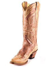 Crackled distressed leather creates the most unique boot! | http://www.countryoutfitter.com/products/27507-womens-antique-cognac-cream-wingtip-eagle-boot-r2227 #cowgirlboots