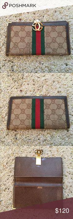 b595097d26b GUCCI VINTAGE MONOGRAM CHECKBOOK WALLET Gucci vintage monogram checkbook  wallet. Normal wear
