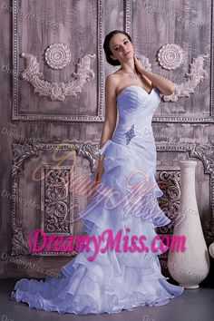 Lilac Prom Gown Dress Column Sweetheart Brush Train Ruched and Beaded