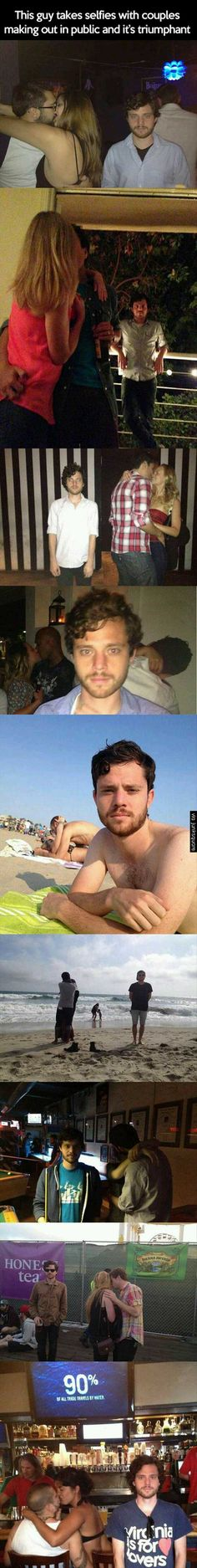 Guy who takes selfie with couples making out  in public :p