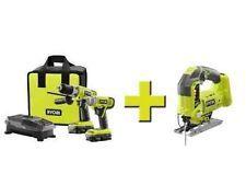 Cordless Tool Combo Kit New Ryobi 18-Volt Cordless Hammer Drill Impact Driver Combo Kit w Jig Saw