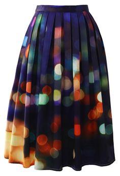 Neon Light Pleated Midi Skirt