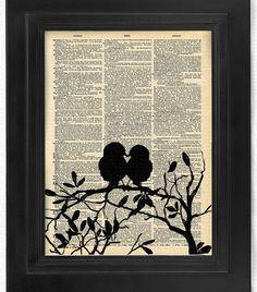 Amor a primera vista pájaros del amor conjunto de 4 por HelloUwall
