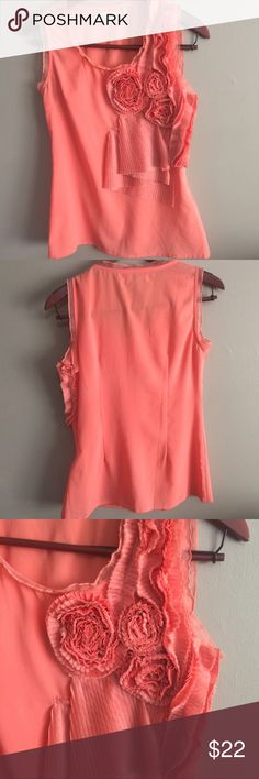 Forla Paris Coral colored Blouse Design made in France. Beautiful coral color. With intricate floral detailing on the front and a side zipper. FORLA Paris Tops