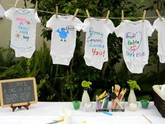 Fun Baby Shower Idea.  Paint your own onesie decor onesi, short blond, longsleev onesi, fun babi, texas baby shower, fun baby shower ideas, babi shower, parti, baby showers