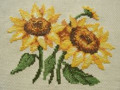 Cross-stitching sunflowers